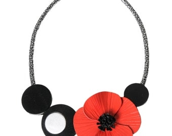 Poppy leather and Horn beads