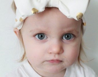 White Gold Polka Dot Baby Headband Bow, toddler gold and white polka dot bow headband
