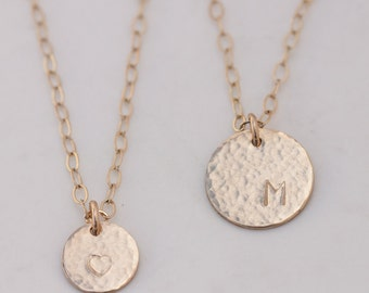 hammered gold monogram disc pendant gold coin pendant gold initial pendant gold letter necklace gold initial necklace initials circle