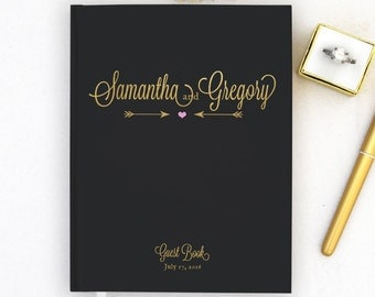 Real Gold Foil Wedding Guest Book Gold foil Guest Books Custom Guestbook Modern Wedding Script Wedding - black