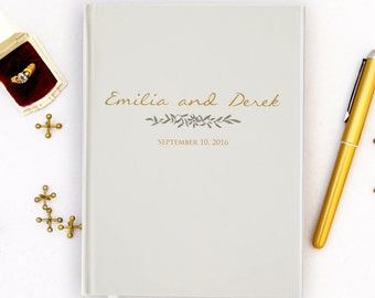 Wedding Guest Book Personalized Gold Guest Books Custom Guestbook Romantic Fall Wedding Gold Script Wedding - Ivory