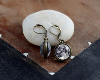Full moon dangle earrings, double sided drop moon earrings, tiny planet drop earrings, Space earrings, Astronomy Galaxy Universe Earrings