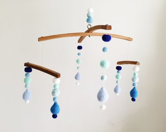 Crocheted Mobile | Blue Ombré | Crochet Raindrops | Balance Mobile | Nursery decor| Baby Mobile | One of a kind | Poppy and Peridot