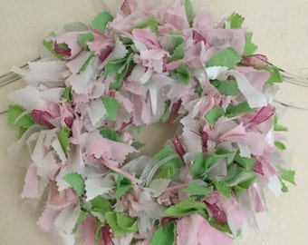 Hand Dyed Pastel Pink Fabric Wreath
