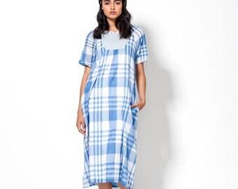 "Plaid Blue Dress - Short Sleeves Dress - Summer Cotton Dress - Galabiya Printed Dress - Urban Casual Midi Dress - Women Clothing - ""Gala"""