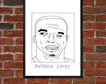 Badly Drawn Antonio Gates - San Diego Chargersposter / print / artwork / wall art