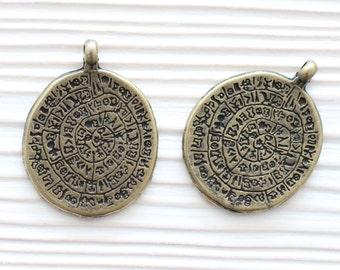 Antique tribal pendant, rustic pendants, boho pendant, spiral pendant, antique round pendant, antique findings, hammered metal pendant