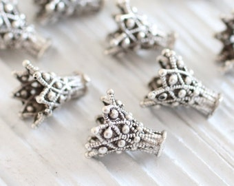 2pc filigree bead caps, silver tassel cap, bead cones, end caps, unique cones, filigree tassel cap, ornate tassel cap, silver end caps