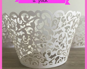 12 Wedding Cupcake Wrappers - Laser Cut -  Lace Cupcake Wrappers - Cupcake Holders - Cupcake Liners - White