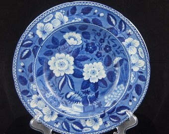 """Early 19th Century Riley's Semi China Floral Blue Transferware Bowl, 8 7/8"""" Diameter by 1 1/2"""" Height"""