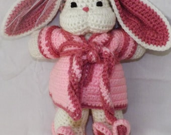 Handmade Crochet Bunny with Pink Robe and Slippers!