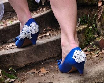 Blue shoes blue wedding shoes prom shoes wedding shoes low heels lace wedding shoes blue wedding shoes blue bridal shoes US SIZE 7.5
