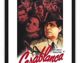 Casablanca Red Text - Classic American Vintage Film Poster