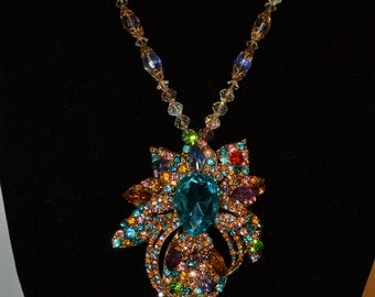Multicolor rhinestone leaf necklace  (#8)