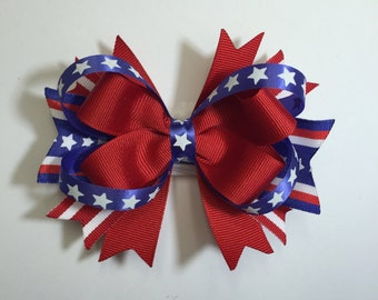 Red, White and Blue Fourth of July Bow