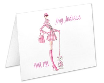 Think Pink Breast Cancer Awareness, Pink Ribbon, Personalized Note Cards, Stationery Set, Thank You Cards, Notecards, Stationary, Survivor