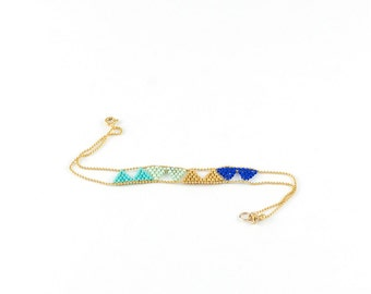 Golden blue triangles turquoise beads miyuki weaving and fine gold plated bracelet