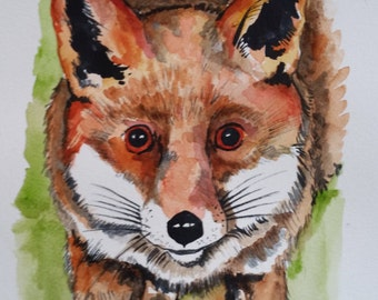 Fox Watercolour Painting.Fox Illustration, Fox Drawing.Fox Art, Colourful Painting.Original.Unique Gift.Wall Decor Home.