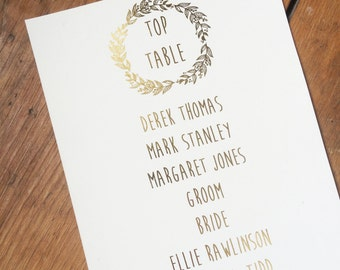 Personalised gold foil wedding table plan, rustic wedding, wreath design table plan