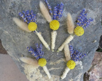 Five Wedding Boutonnieres For Rustic Wedding, Dried Lavender, Dried Craspedia, Billy Balls
