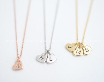 Custom Initial Heart Necklace/ Hand Stamped Letter Necklace, Rose Gold Tag, Dainty Heart, Personalized Name Necklace, Grandma Mommy Gift 138