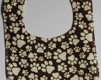 Paw Print Flannel Bib with Snap Fastener layette feeding time baby gift baby shower drool bib mealtime essentials baby layette
