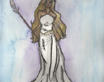 Goddess Warrior, 5x7 or 8x10  print of watercolor painting