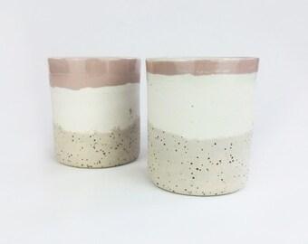 Ceramic Cup // Ceramic beaker // drinkware // Mugs // ceramic glass // handless cup // Modern ceramics // pink pottery / speckled pottery
