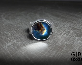 Blue Space Ring Blue Space Cloud Ring Jewelry - Space Cloud Jewelry Ring - Blue Space Jewelry Rings - Space Statement Adjustable Glass Ring