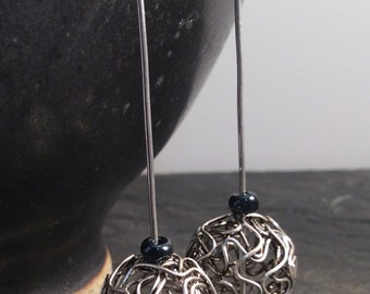 long wire bead earrings - free shipping