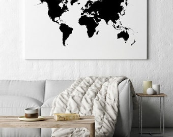 World map print world map poster black and white large world map wall art large world map world map poster printable world map gumiabroncs Choice Image