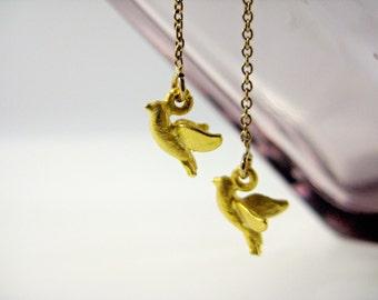 Gold Bird Earrings, Gold Bird Threaders, Bird Dangle Earrings, Gold Thread Earrings, Gold Threaders, Gold Earrings, Bird Earrings,Dove Charm