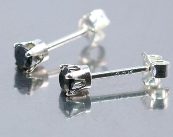 Black Spinel Faceted 3mm Sterling Silver Stud Earrings