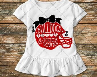 Bulldogs, Tutus & Touchdowns - SVG, Vector, DXF, EPS, Digital Cut File, Silhouette, Cricut, Girls Football, Touch down, Cuttable, Mom