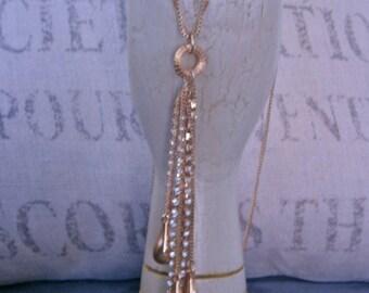Gold Chain Tassel Necklace Modernist 60s Mid Century