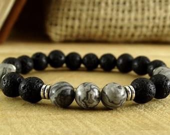 Mens Bracelet For Him Lava Bracelet Boyfriend Gift For Friend Jasper Bracelet Mens Jewelry Meditation Bracelet Marble Jewelry For Him Mens
