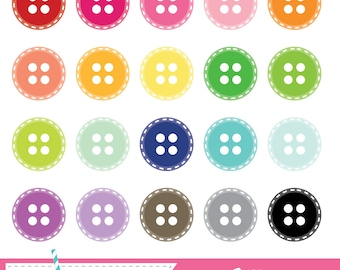 Stitched Button Digital Clipart - 20 Pieces for Personal & Commercial Use