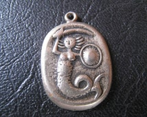 Vintage silver pendant - mermaid with sword and shield