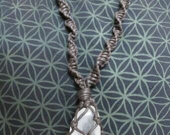 Handmade quartz crystal macrame necklace