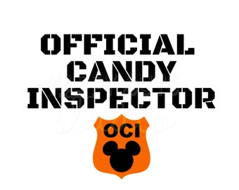 Official Candy Inspector Mickey Mouse Ears Halloween Disney Not So Scary Halloween Party  Iron On Decal Vinyl for Shirt 333