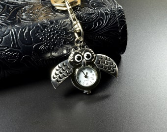 Monogrammed Antique Silver Owl Pocket Watch Key Chain Personalized Girlfriend Gift, Bridesmaid, Mother's day Gift, Coworker Gift Engraved