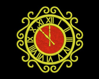 Christmas Gold Clock Applique Machine Embroidery Design Digital Pattern Instant Download