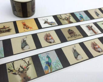 Animal tape 5M Forest animal EXTRA WIDE washi tape owl squirrel deer giffar fox peacock rabbit bird sticker cute animal planner diary gift