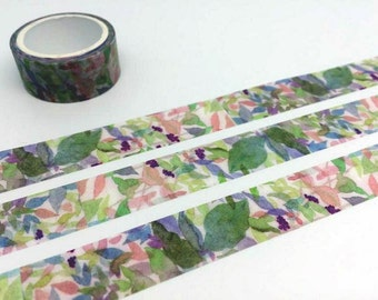 Abstract forest tape 3M Fancy painting washi tape rainforest florist blossom watercolor pattern sticker tape planner gift diary scrapbook