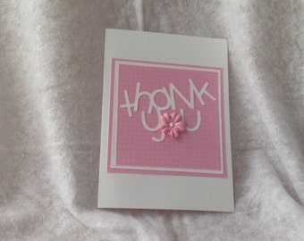 Thank You Card Handmade Pink with Flower Accent