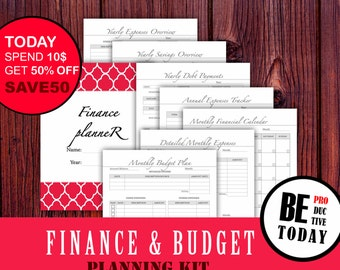 Financial Planner Bundle, Budget Planner, Bill Organizer, Expenses Tracker, Finance Binder, Budget Page, Debt Tracker, A5 Printable Filofax
