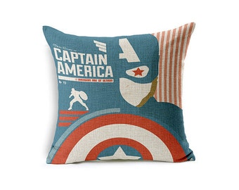 captain America, Avengers pattern, decorative pillows, cartoon style, home decor, throw pillows, decorative, signature