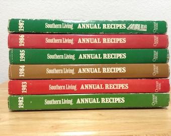 Vintage Southern Living Annual Cookbooks 1982-1987 Vintage Hardback Cookbooks Set of 6