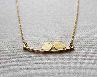 Gold Lovebirds Two Birds Necklace | gift for her / anniversary / love