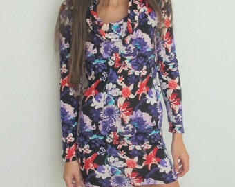 Women 90's Long Sleeves Flower Dress